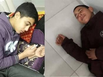 Dua pelajar Palestin menanggung kesakitan selepas terhidu gas pemedih mata dilepaskan tentera Zionis