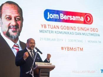 Menteri Komunikasi dan Multimedia, Gobind Singh Deo berucap pada Lawatan Kerja 'Jom Bersama' Menteri Komunikasi dan Multimedia bersama Warga Telekom Malaysia Berhad (TM) di Menara TM hari ini. - Foto Bernama