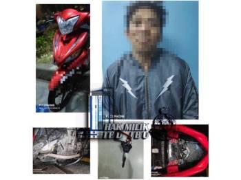 Suspek dan motosikal yang ditahan susulan pemeriksaan itu.