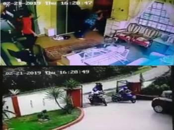 Sekumpulan lelaki bermotosikal yang dipercayai cuba melakukan samun dengan menyerang mangsa di rumahnya.