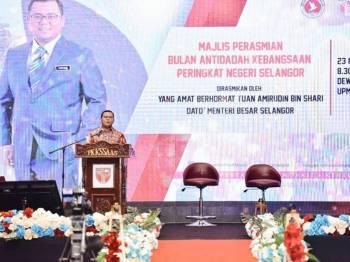 Amirudin ketika berucap sebelum merasmikan Bulan Anti dadah Peringkat Negeri Selangor di UPM, hari ini. - Foto Pejabat MB Selangor