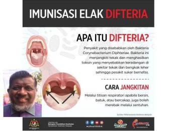 Jabatan Kesihatan Johor kini dalam langkah berjaga-jaga susulan kes kanak-kanak lelaki meninggal dunia disyaki akibat jangkitan difteria.(Gambar kecil:Dr Selahuddeen Abd Aziz)