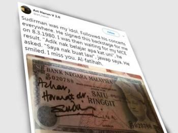 Azhar berkongsi wang kertas miliknya yang tertera tandatangan Sudirman.
