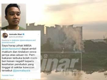 Asap dikeluarkan menyebabkan Syafiq (gambar kecil) mewakili penduduk mengalami demam dan batuk berpanjangan. Gambar kiri, Amirudin membalas ciapan di Twitter berhubung aduan pembakaran terbuka oleh penduduk. Pangsapuri Damai Seksyen 25,Taman Sri Muda.