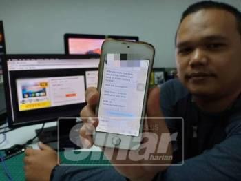 Faiz menunjukkan perbualannya bersama peniaga yang kemudiannya meminta dia menyerahkan nombor pengesahan pembelian.