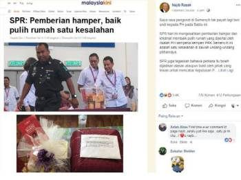 Paparan skrin kenyataan ditulis Najib di laman sosial Facebook, miliknya.