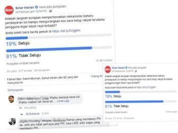 Poll Sinar Harian, mekanisme baharu pembayaran tol mampu mengurangkan kos sara hidup rakyat