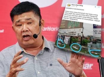 Chee Heng memuat naik status memaklumkan kain rentang kempennya dirosakkan dipercayai akibat perbuatan khianat.