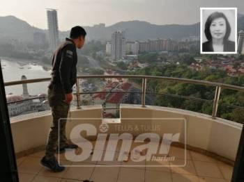 Polis sedang menyiasat tempat kejadian yang mana dipercayai mangsa, Thong Chooi Ting terjatuh dari tingkat 15 Pangsapuri Marina Tower.