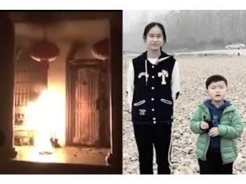Chen Zimo (kiri) maut ketika melindungi adik lelakinya berusia lima tahun apabila rumah mereka terbakar pada 22 Februari lalu. - Foto WEIBO