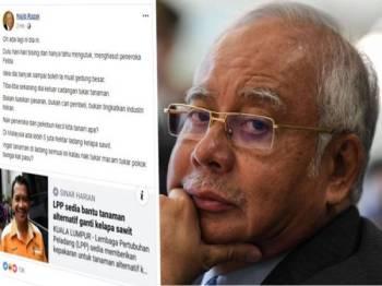 Paparan skrin hantaran Najib di laman sosial Facebook, miliknya.
