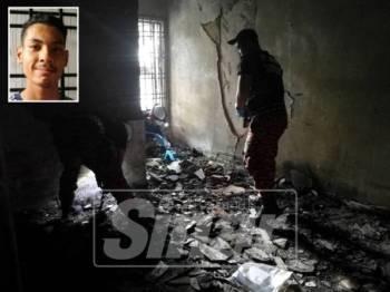 Anggota forensik Jabatan Bomba dan Penyelamat sedang menjalankan siasatan di bilik asrama yang terbakar. Gambar kecil: Ammar
