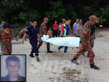 Mayat mangsa dibawa kenderaan polis sebelum dihantar ke Hospital Hulu Terengganu untuk tindakan lanjut.
