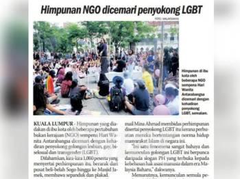 Akhbar Sinar Harian hari ini melaporkan himpunan NGO dicemari penyokong LGBT, semalam.