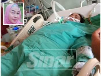 Noor Sykira Syzlin dilaporkan kritikal selepas melecur 52 peratus anggota badan dan terpaksa menerima rawatan di ICU Hospital Melaka.