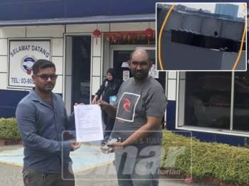 Mohd Faizal (kiri) dan Muhamed Mahathir membuat laporan polis menafikan video tular dan menggesa siasatan segera dibuat terhadap pihak tidak bertanggungjawab. Gambar kecil: video tular menunjukkan terdapat individu yang mandi di dalam tangki air milik restoran itu.