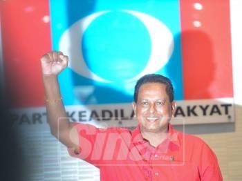 Timbalan Ketua Cabang PKR Rembau, Dr S Streram diumumkan sebagai Calon PH bagi PRK Rantau di Ibu Pejabat PKR hari ini. - Foto Sinar Harian/SHARIFUDIN ABDUL RAHIM