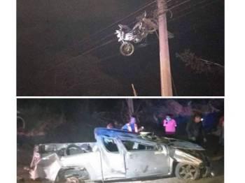 Keadaan kedua-dua kenderaan setelah terlibat dalam kemalangan jalan raya.