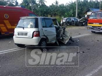 Perodua Kancil dipandu mangsa remuk teruk akibat kemalangan itu.