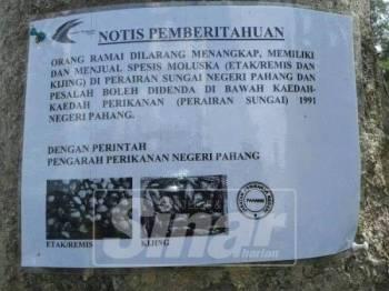 Jabatan Perikanan Pahang telah banyak memberi peringatan kepada orang awam dengan meletak larangan menangkap etak di kawasan Sungai Pahang bagi memberi amaran bahawa penangkapan binatang bercengkerang itu tidak boleh ditangkap