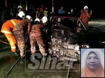 Anggota dari BBP Dungun berusaha mengeluarkan Hasnah dan suaminnya yang tersepit dalam kereta yang remuk. (Gambar kecil: Hasnah)