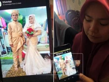 Sempat mencuba baju pengantin sebagai persiapan terakhir sebelum bergelar suami isteri.