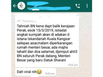 Tangkap layar dari satu grup WhatsApp mengenai mesej tular kononnya ada upacara angkat sumpah petang ini.