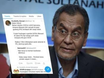 Ciapan Dr Dzulkefly menjelaskan mengenai kandungan hidrogen sianida yang dikesan di ruang udara Pasir Gudang, Johor.