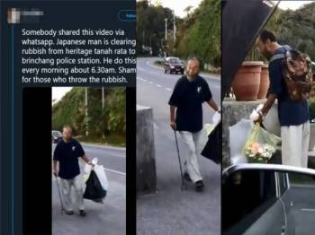 Tular video memaparkan seorang lelaki Jepun mengutip sampah di pusat peranginan itu.
