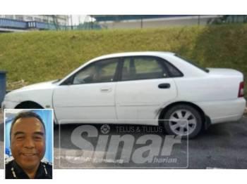 Kereta Proton Waja yang dipandu suspek dibawa ke IPD Taiping untuk siasatan lanjut. (gambar kecil: Osman)