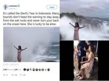 Pelancong wanita bergambar berlatar belakangkan ombak besar tular di media sosial.
