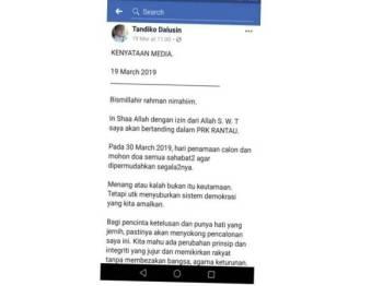 Kenyataan Tandiko yang dikongsi di Facebook.