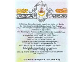 Sultan Selangor menzahirkan ucapan takziah kepada mangsa serangan di Christchurch dalam laman sosial Facebook rasmi Selangor Royal Office, hari ini. - Foto Selangor Royal Office