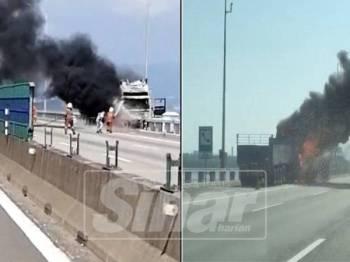 Treler terbakar di Jambatan Pulau Pinang pagi tadi.(Kebakaran bermula dari bahagian enjin treler menyebabkan 90 peratus treler berkenaan hangus.)