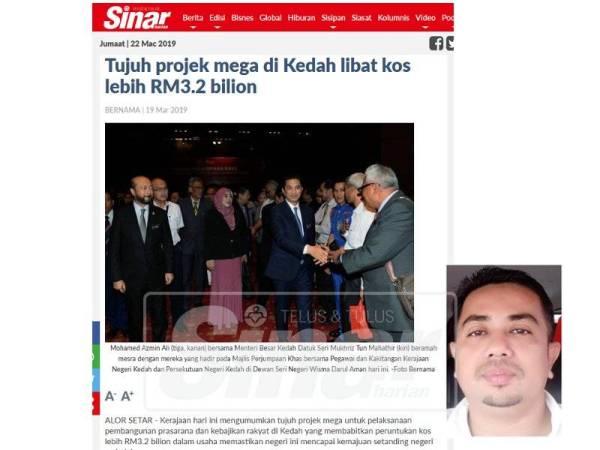 Paparan skrin laporan Sinar Harian, Selasa lalu. (Gambar kecil: Nazar)