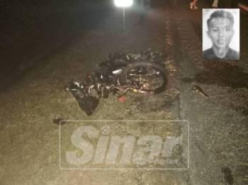 Keadaan motosikal mangsa yang hancur