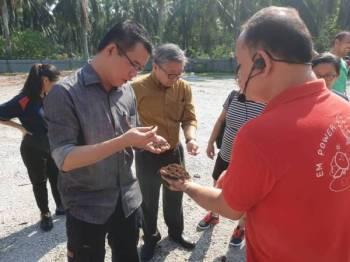Hong Pin (kiri) melihat sisa buangan yang diproses di Ladang FOLO, di sini, hari ini.