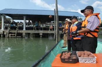 Rosli (kanan) dan Azlimi melontar mudball ke dalam Sungai Balok.