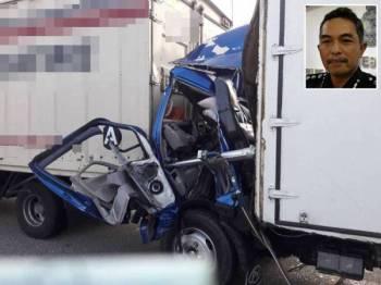 Keadaan lori dipandu mangsa remuk bahagian hadapan selepas merempuh sebuah lagi lori.Gambar kecil: Mohd Ali