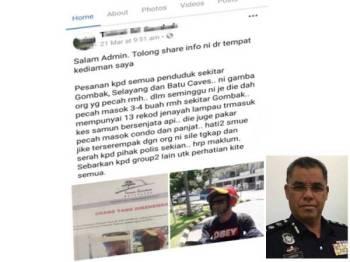 Penularan imej suspek di media sosial.  (Gambar kecil: Samsor Maarof)