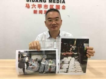 Poay Tiong menunjukkan gambar rakaman video mengenai gelagat pelancong China di pintu masuk selatan negara ini setelah menunggu lama di pusat pemeriksaan imigresen.
