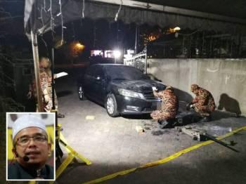 Pasukan forensik Bomba dari Perlis dan Putrajaya ketika melakukan siasatan terhadap kereta rasmi mufti Perlis yang terbakar. - Foto FB DrMAZA.com (Gambar kecil: Mohd Asri)