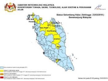Status gelombang haba di enam negeri yang meliputi 12 kawasan dilaporkan berada tahap satu.