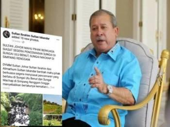 Paparan skrin kenyataan Sultan Johor di laman Facebook rasmi baginda.