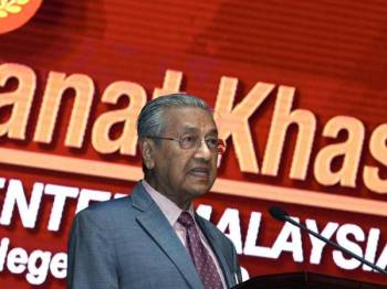 Perdana Menteri Tun Dr Mahathir Mohamad menyampaikan Amanat Khas kepada para penjawat awam negeri Kedah di Wisma Darul Aman hari ini. - Foto Bernama