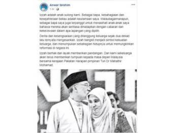 Kenyataan Anwar yang dimuatnaik di Facebooknya hari ini.