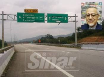 Pembinaan LPT3 yang menghubungkan terus Tepoh di Kuala Nerus ke Kelantan akan merancakkan lagi ekonomi tempatan, selain menjimatkan masa perjalanan. Gambar kecil: Tengku Hassan