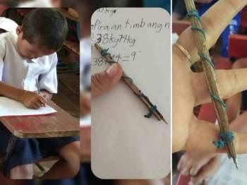 Jan Kim dengan sebatang 'pensil' ciptaannya.