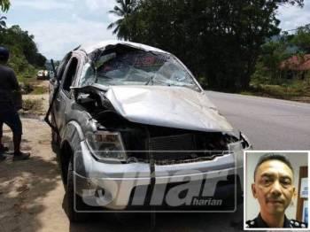 Kenderaan yang dinaiki mangsa rosak teruk akibat kemalangan itu. (Gambar kecil: Mohd Shamsuri)