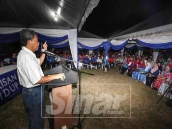 Ceramah Mohamad Hasan di Taman Nusari Bayu 2, Sendayan, malam ini. - Foto Adam Amir Hamzah